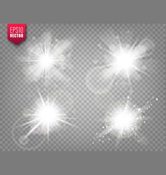 Glowing lights set on transparent background lens vector