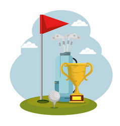 Golf sport trophy cup icon vector