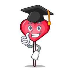 Graduation heart lollipop character cartoon vector