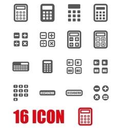 Grey calculator icon set vector