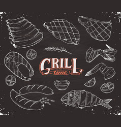 grille meet and fish vector image