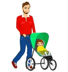 handsome single father pushing stroller vector image