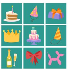happy birthday party celebration cards vector image