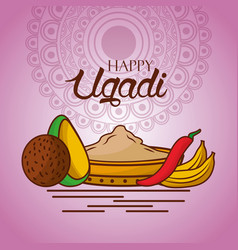 Happy ugadi indian food traditional mandala vector
