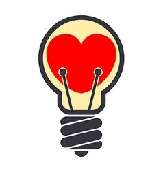 Heart shape inside light bulb isolated on white vector image