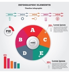 Infographics elements Pie chart and timeline vector image