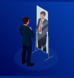 Isometric businessman adjusting tie in front of vector