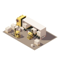 Isometric forklift loading box semi-trailer vector