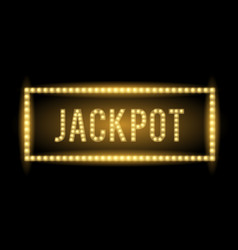 Jackpot text title with electric bulbs and frame vector
