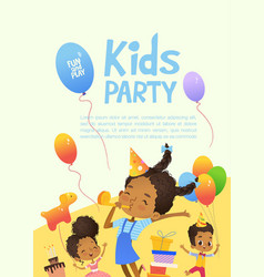 joyous in birthday hats vector image