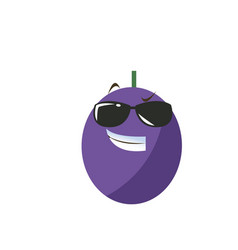 kawaii blueberry fruit funny cartoon vector image
