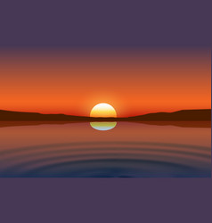 landscape river at mountain in sunset vector image