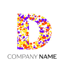 letter d logo with purple yellow red particles vector image