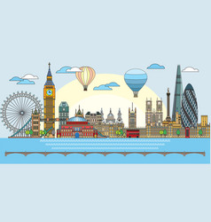 london colorful line art 9 vector image