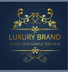 luxury brand gold text vintage design image vector image