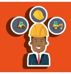 Man construction helmet lift truck vector