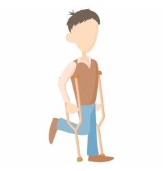 Man on crutches icon cartoon style vector