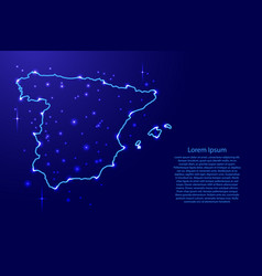 map spain from the contours network blue luminous vector image