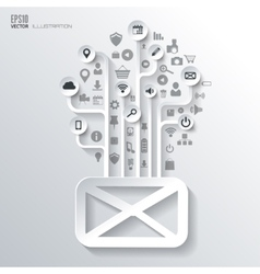 Message sms email icon Icon tree Flat abstract vector