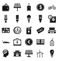 Monetary relations icons set simple style vector