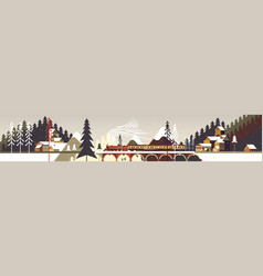 Mountain snowy winter landscape with coniferous vector
