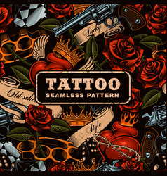 Old school tattoo seamless pattern vector
