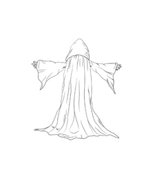 outline of a wizard or monk vector image