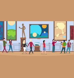 people in art museum viewers walk and watch vector image