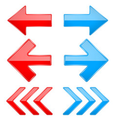 Red and blue shiny 3d arrows previous and next vector