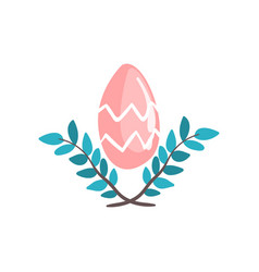 red easter egg and spring twigs vector image