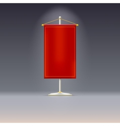 Red pennant or flag on chrome base with vector image