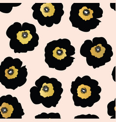 repeating pattern black and golden flowers vector image
