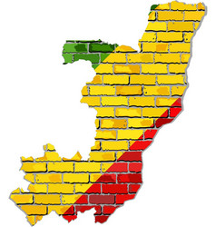 republic of the congo map on a brick wall vector image