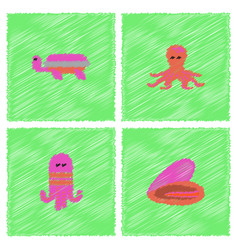 Seabed stock collection in hatching style vector