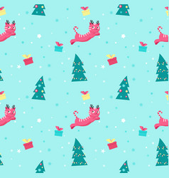 Seamless pattern with cute christmas cats vector