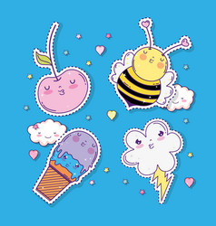Set kawaii apples with bee and ice cream with vector
