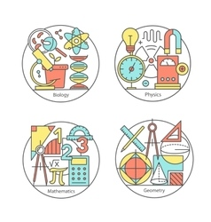 Set logos biology physics geometry vector