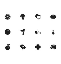 Set of 12 editable vegetable icons includes vector