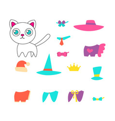 set of clothes for a cat vector image