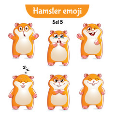 Set of cute hamster characters set 5 vector