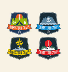 Set of logos of a christian summer camp vector