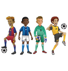 Set of young soccer players vector