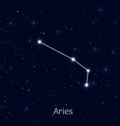 Sign zodiac aries night sky background realistic vector