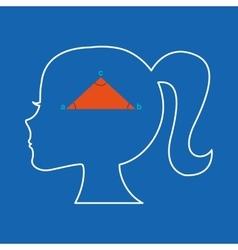 Silhouette head girl school geometric vector