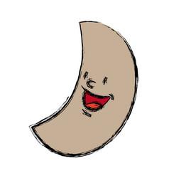 Smiling moon cartoon mascot character vector