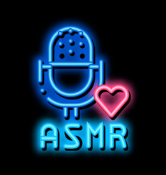 Sound in microphone asmr neon glow icon vector