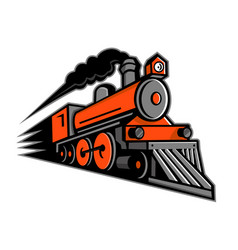 steam locomotive speeding mascot vector image