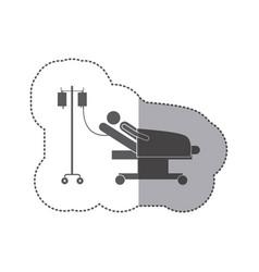 Sticker monochrome pictogram person hospitalized vector