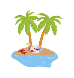 Summer coastline scene with palms and cocktail vector