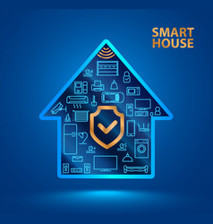 Symbol silhouette smart house with icons of vector